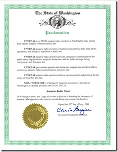2011 Amateur Radio Week Proclamation