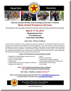 Basic Animal Emergency Services Training - 17-mar-2012