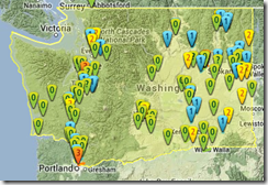 TornadoHistoryProject's Map of WA Tornados
