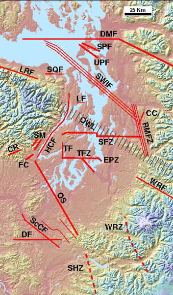 Wikipedia's map of Puget Sound faults