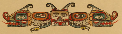 Ayahos - a representation of a'yahos, Native American supernatural spirit associated with earthquakes - from Wikipedia's Seattle Fault article